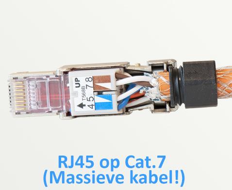 RJ45 connector aansluiten op massieve Cat.7 kabel